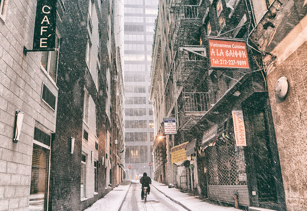 New York City - Winter - Bicycling Down an Alley in the Snow
