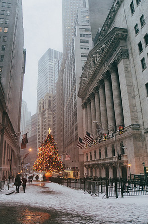 New York Stock Exchange Holiday Tree in the Snow