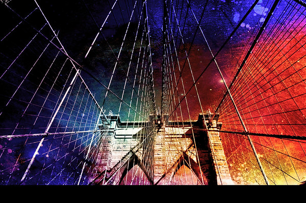 <h2>Brooklyn Bridge - Under Future Skies - New York City</h2> - By Vivienne Gucwa  Old metropolises stood partially intact - lit with a colorful glow that emanated from crowded skies: remains from a future that soared past the earth.  The skies were dark with the exhaust of sky-borne vehicles and burned out stars: remains from a present littered behind the future.  And under the left-over sky-rubble, old architecture rose from the ground stubbornly: remains from a past left behind long ago.  ---