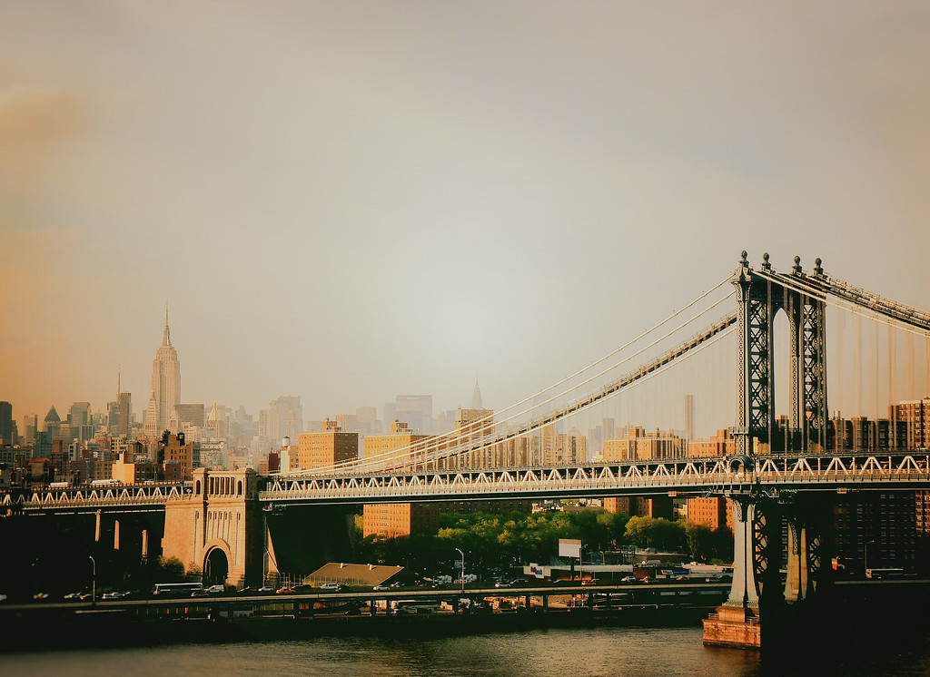 The Manhattan Bridge and the New York City Skyline at Sunset