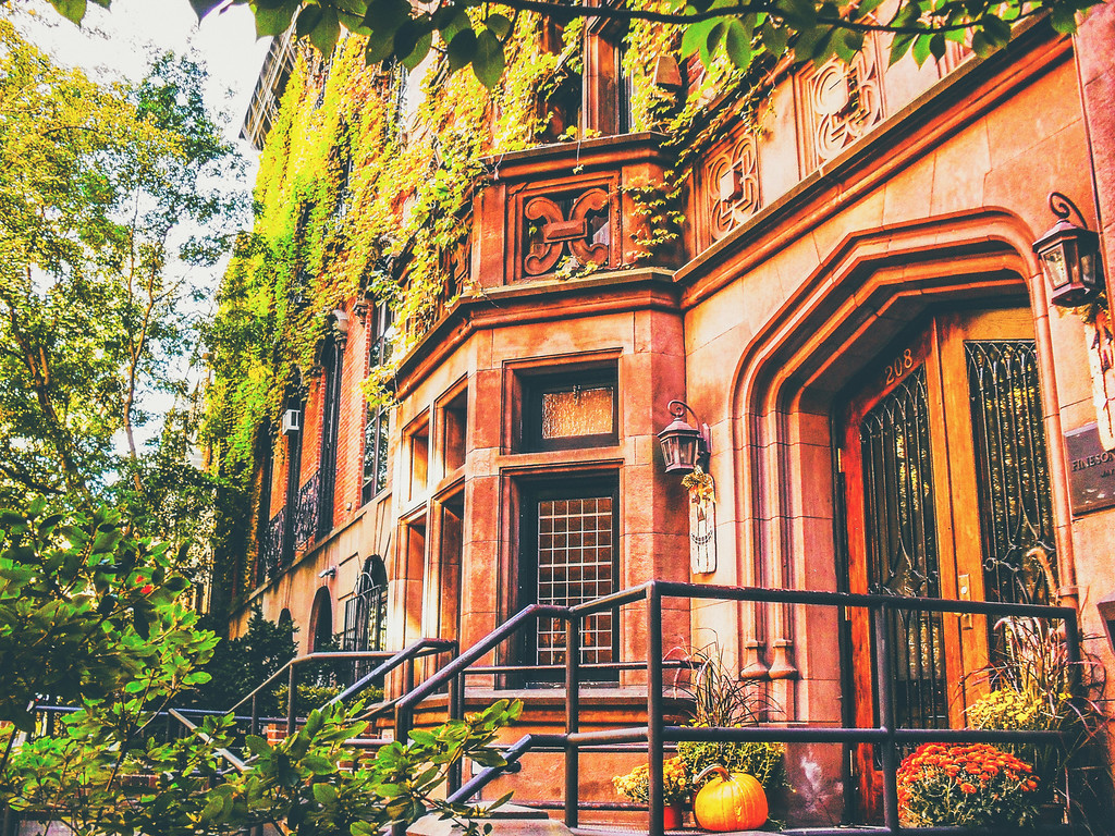 New York City - Autumn - Pumpkin on Stoop