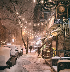 New York City - Snow - East Village Lights
