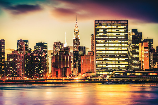 New York City Skyline and the Chrysler Building - View from Queens