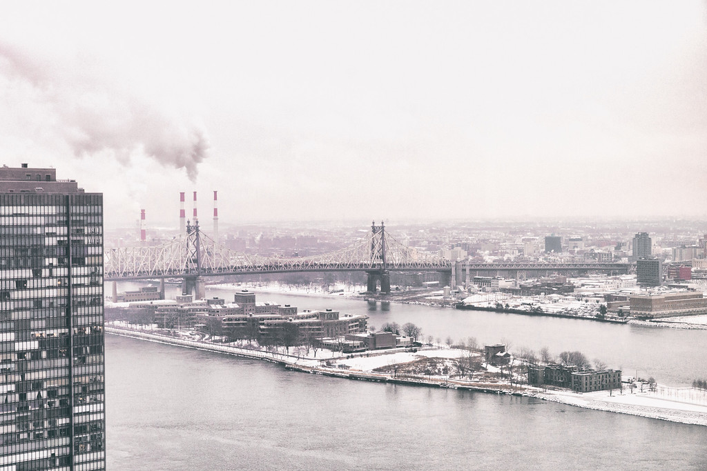 The Queensboro Bridge and Roosevelt Island from Above - New York City