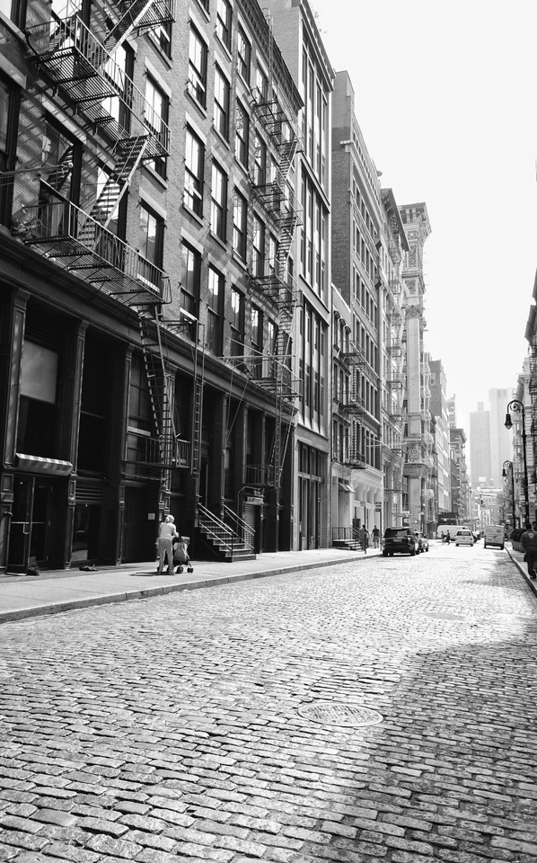 New York City Street - Soho Cobblestones in the Afternoon
