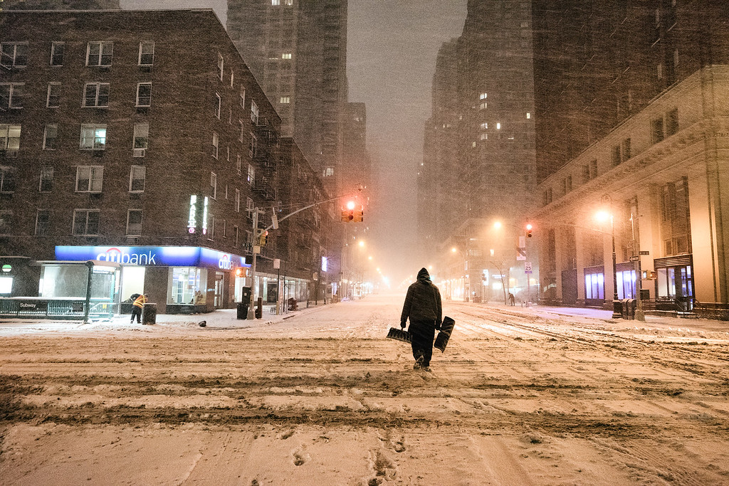 New York City - Snow - Winter Storm Juno - Empty 6th Avenue
