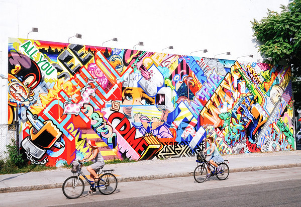 New York City Street - Houston and Bowery Wall  - Summer