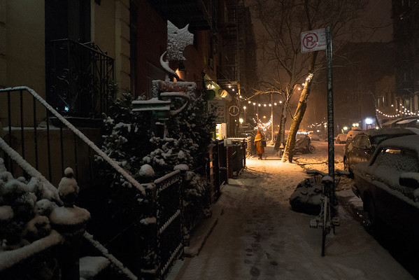 <h2>New York Winter Night - East Village Snow</h2> - By Vivienne Gucwa  A woman walks down a snowy street in the East Village while snow falls and blankets the city at night. The East Village is a neighborhood in lower Manhattan. This was taken during the winter storm Nemo at the beginning of the snowfall.   --
