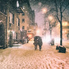 New York City - Snow - Winter Night Under an Umbrella