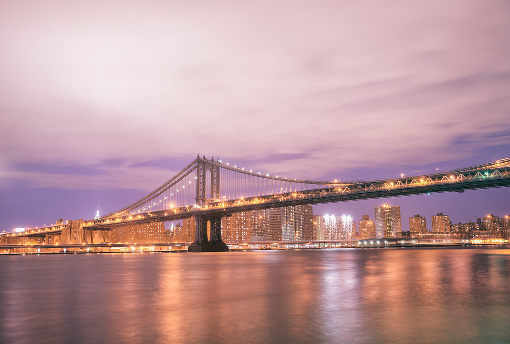 New York City Skyline and Manhattan Bridge on a Winter Night