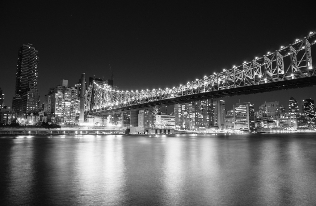 Black And White City At Night