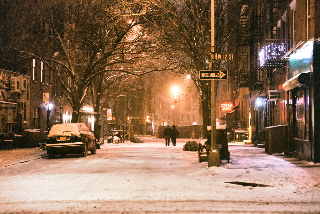 New York City - West Village in the Snow on a Winter Night