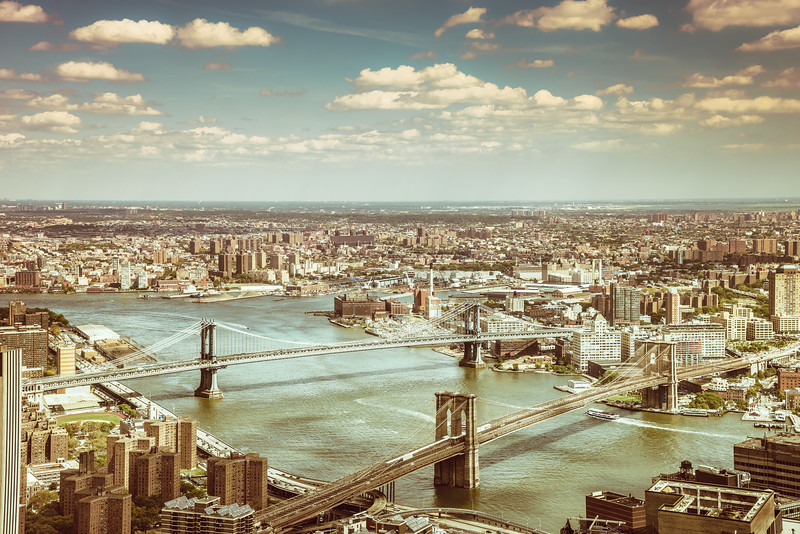 New York City - Brooklyn Bridge and Manhattan Bridge - View from 4 World Trade Center