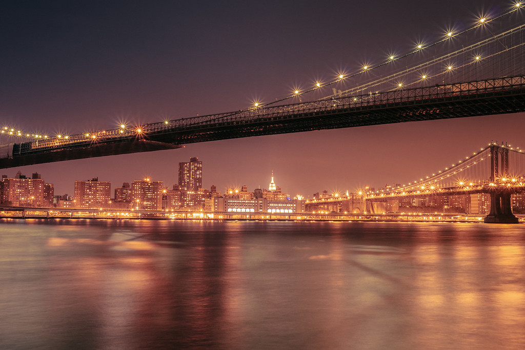 Empire State Building and the Manhattan Bridge on a Summer Night