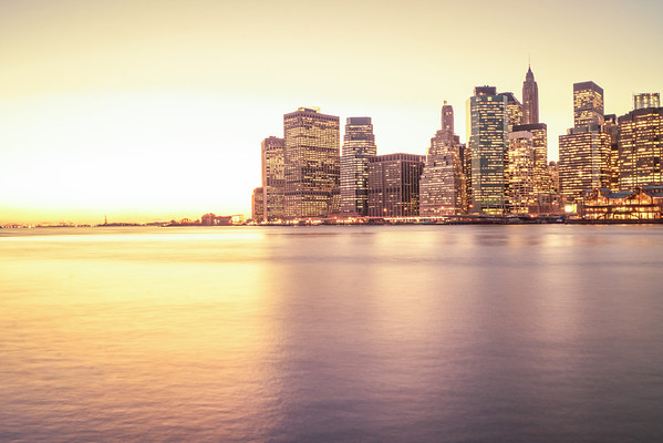 New York City Skyline at Sunset - Lower Manhattan Skyscrapers