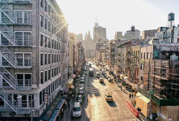 New York City - Sunset Over East Broadway - Chinatown