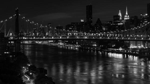 Queensborough Bridge and Manhattan Skyline from Roosevelt Island, New York City,