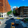 Street view from the High Line Park crossing West 23rd Street, Chelsea, Manhattan.