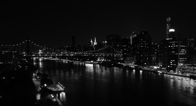 Manhattan Skyline, East River, and Queensborough Bridge from Roosevelt Island, New York City