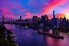 Queensborough Bridge and Manhattan at Sunset from Roosevelt Island, New York City