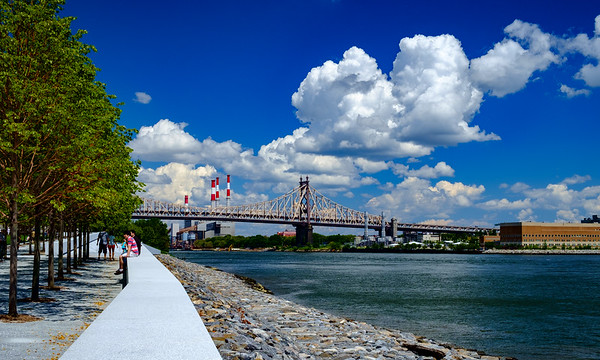 East River and Queensborough Bridge from Roosevelt Island, New York City