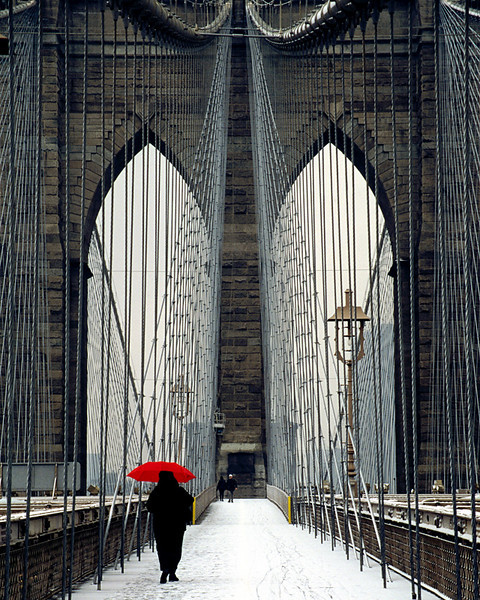 Brooklyn Bridge and Red Umbrella - New York City