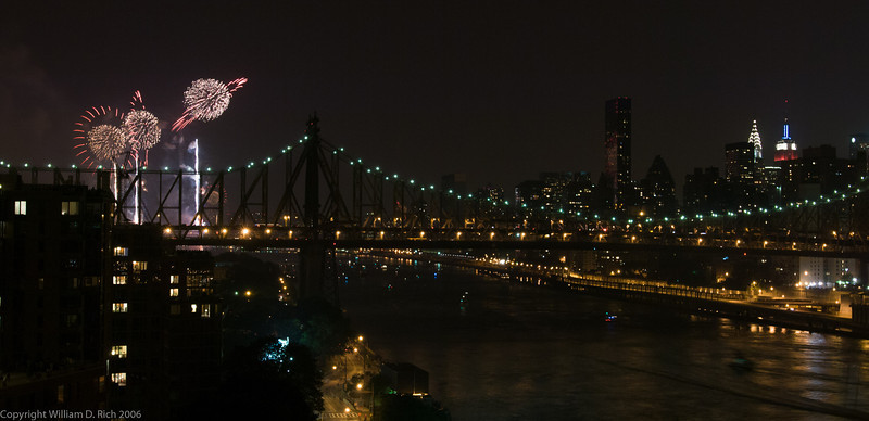 Manhattan Skyline and July 4th Fireworks from Roosevelt Island, New York