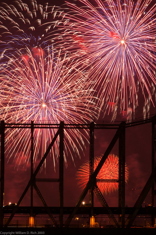 July 4th Fireworks and Queensborough Bridge from Roosevelt Island, New York
