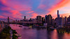 Manhattan Skyline, East River, and Queensborough Bridge from Roosevelt Island at Sunset