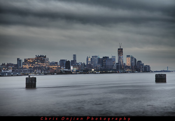 6 shot HDR at dusk of lower Manhattan