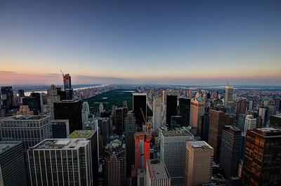 Top Of The Rock. View from the Rockefeller Center, Manhattan toward Central Park.