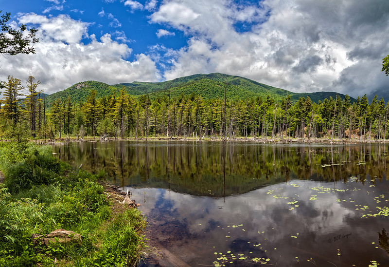 Panorama of a pond next to the Flume Trail by the Ausable River in the Adirondacks