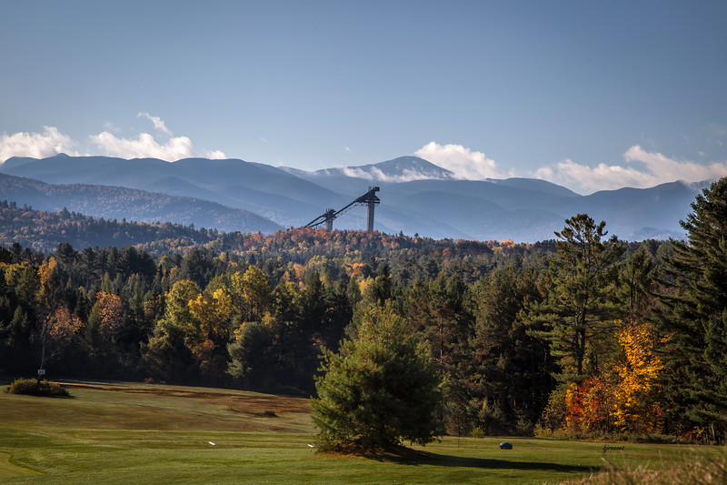 Olympic Ski Jumps and Mt. Marcy seen from Lake Placid