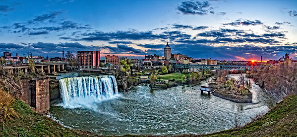 High Falls Sunset in Rochester, New York