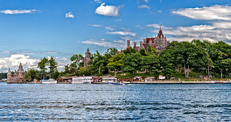 Bolt Castle seen from the Bolt Castle Boathouse on Wellesley Island