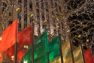 Flags and lights - Rockefeller Center