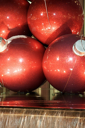 Red ornaments on 6th Ave.