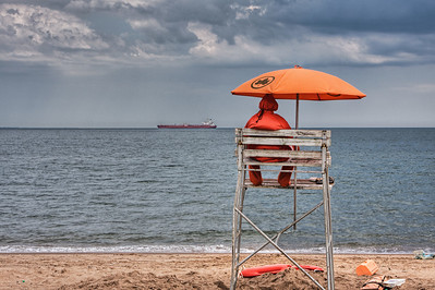 Orange Umbrella, South Beach, NY.