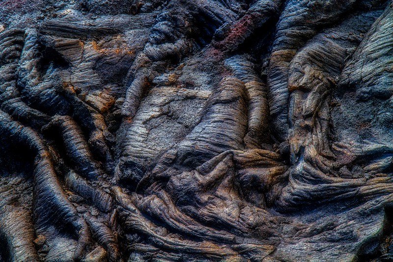 Pahoehoe lava from 1970's flows on the Big Island.<br /> Photo © Carl Clark