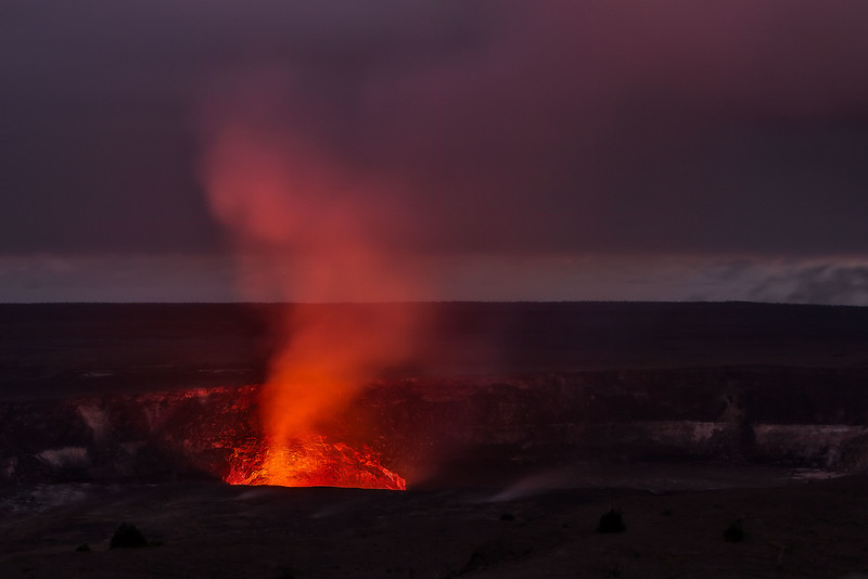 Dusk glow of the lava dome at Kīlauea caldera on the Big Island.<br /> Photo © Cindy Clark