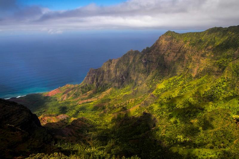 The rugged Nā Pali Coast on Kauai.<br /> Photo © Carl Clark