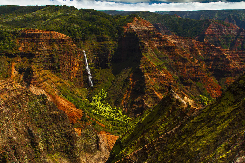 Cue the Jurassic Park theme song  - this waterfall (from the final escape in the movie) is in the Waimea Canyon on Kauai.<br /> Photo © Cindy Clark