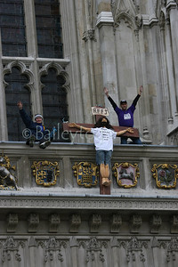 Real Fathers for Justice stage a demonstration at Westminister Abbey during Easter 2006