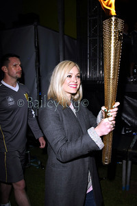 "Fearne Cotton carrying the Olympic Torch at the Radio One ""Kick start the Summer"" Dance festival in Paignton Devon June 2012"