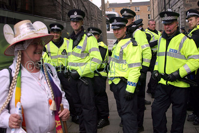 Edinburgh police keep watch on a dangerous protester at the Make Poverty History Event