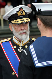 HRH Prince MIchael of Kent reviews a parade at the 100th anniversary of HMS Calliope in Newcastle upon Tyne