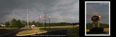 July 2012 was my first trip to Jasper Alabama. While staying with the Hampton Inn I noticed a rainbow that started and ended within view.