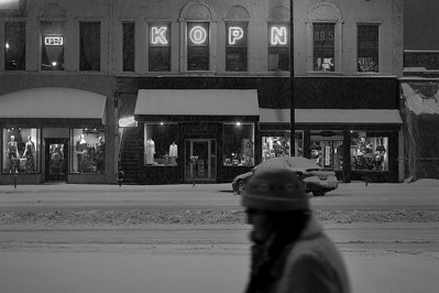 Broadway during winter storm, 2011