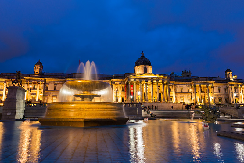 National Gallery at Twilight, London, England