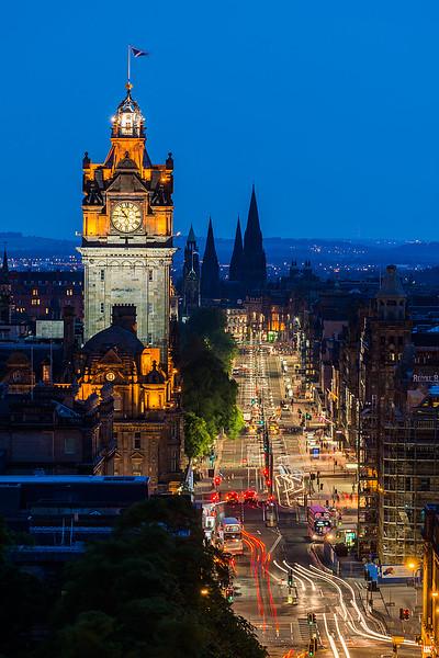 Balmoral Hotel Twilight, Edinburgh, Scotland